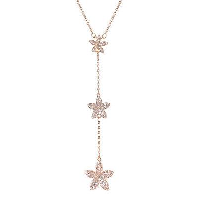 晶亮甜美鑲鑽花串項鍊