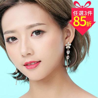 【專區3件★85折】氣質五葉花瓣水滴鑲鑽 耳針/黏式耳環