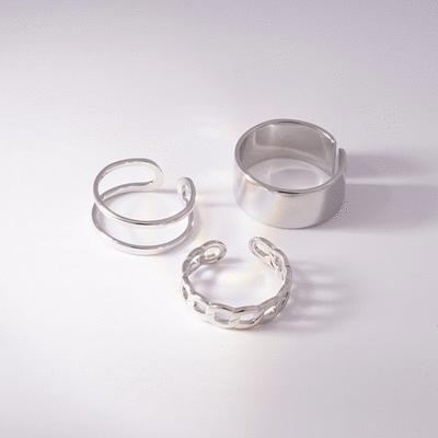 簡約個性銀光簍空開口戒指(3件組)