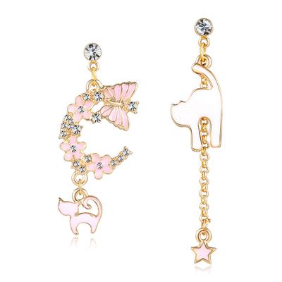 粉色櫻花貓咪星星不對稱 耳針/無耳洞黏貼式耳環