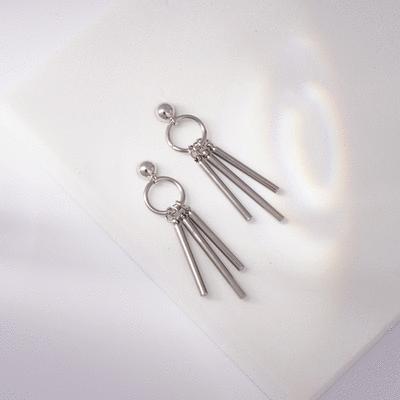 韓版個性圓環三棍 耳針/無耳洞黏貼式耳環