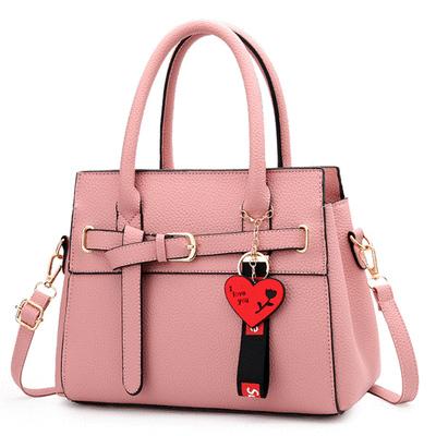韓系甜美針扣皮帶手提包