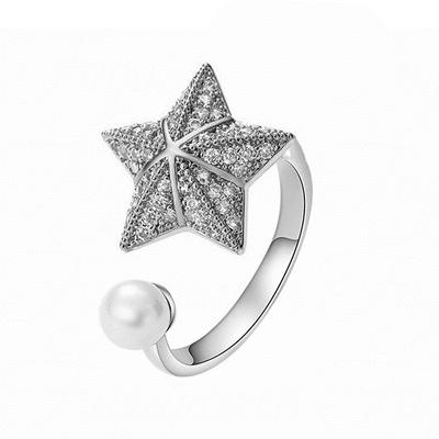 旋轉珍珠傘形海星指環