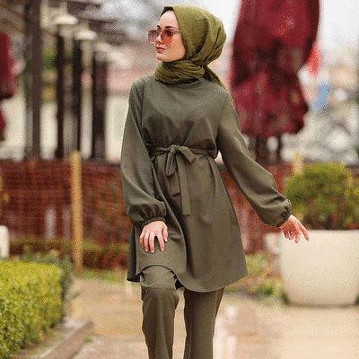 穆斯林寬鬆綁帶兩件式套裝(不含頭巾)