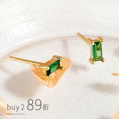 極簡純粹燦綠方鑽 耳針耳環[純銀]