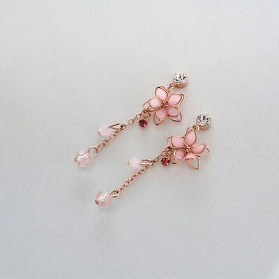 清透粉嫩雙層櫻花無耳洞黏貼式耳環
