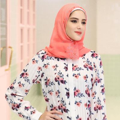 穆斯林純色花卉鑲鑽方頭巾
