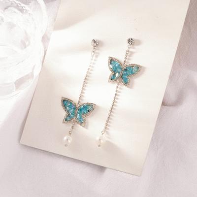 閃閃亮鑽蝴蝶不對稱 耳針/無耳洞黏貼式耳環