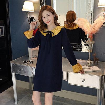 韓版雪紡百褶拼色連衣裙