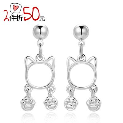 【2件折50元】清新簍空貓咪腳印 無耳洞黏貼式耳環