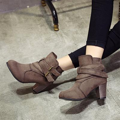 歐美皮帶扣粗根馬丁短靴