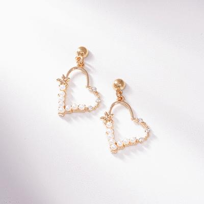 簍空珍珠愛心鑲鑽 無耳洞黏貼式耳環