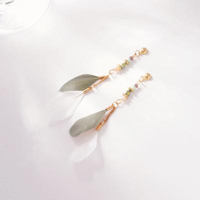 韓版長款氣質羽毛流蘇 無耳洞黏貼式耳環