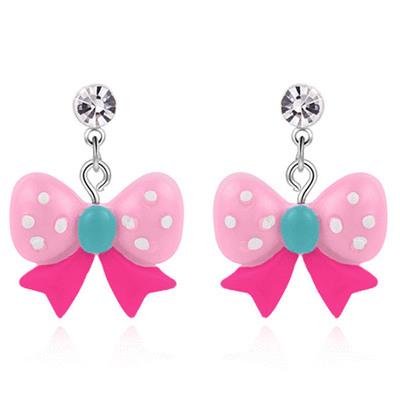 可愛圓點蝴蝶結 無耳洞黏貼式耳環