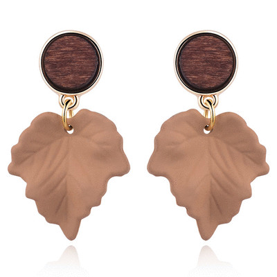 復古典雅楓葉 耳針/無耳洞黏貼式耳環
