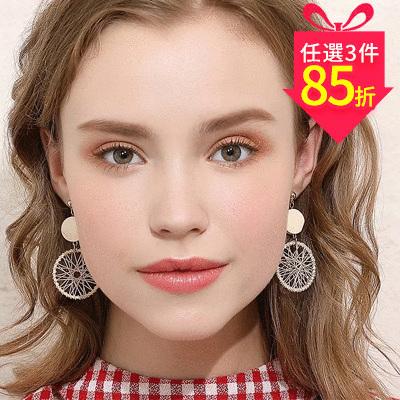 【專區3件★85折】木質圓形編織無耳洞貼式 耳針/黏式耳環