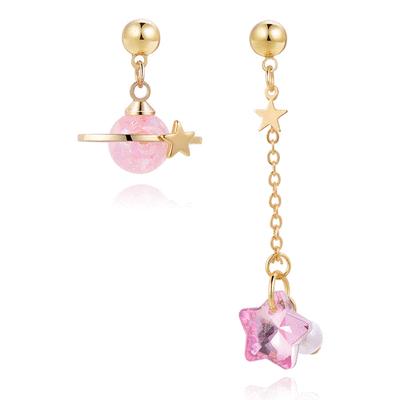 粉嫩星星宇宙不對稱 耳針/無耳洞黏貼式耳環
