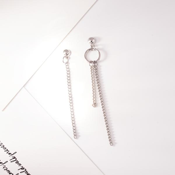 韓版圓環鏈條流蘇不對稱 耳針/無耳洞黏貼式耳環