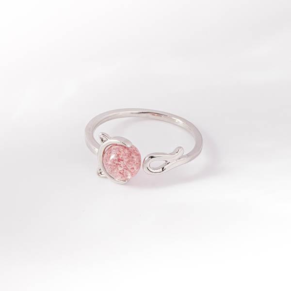 甜美粉嫩晶石貓咪開口戒指