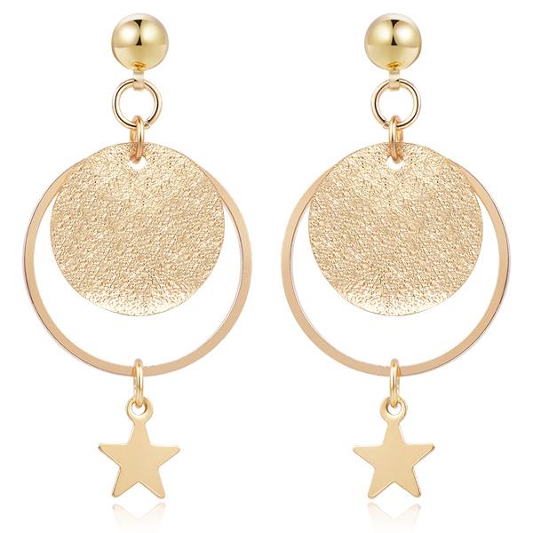 時尚磨砂星星 耳針/無耳洞黏貼式耳環