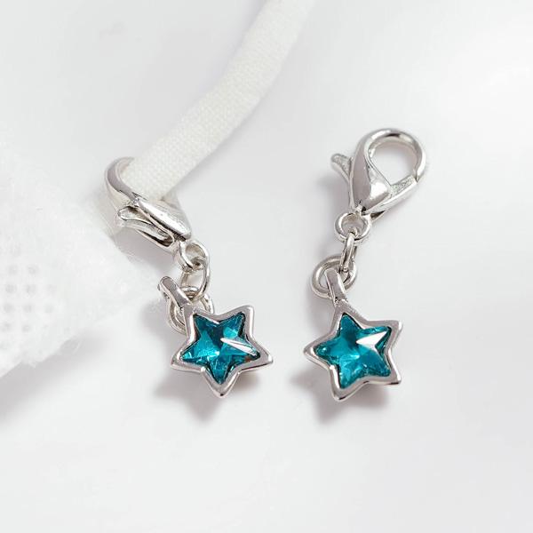 清新蔚藍五角星口罩吊飾