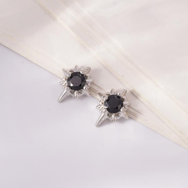 帥氣黑鑽星 無耳洞黏貼式耳環