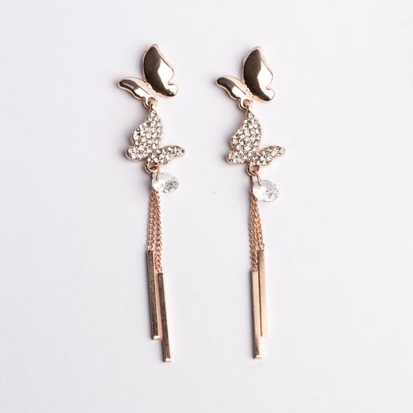 清新優雅蝴蝶流蘇 耳針/無耳洞黏貼式耳環