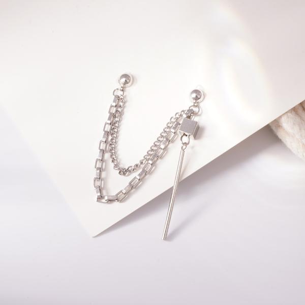 韓版單邊立方體圓柱鏈條 耳針/無耳洞黏貼式耳環