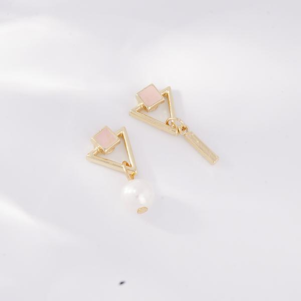 不對稱三角幾何珍珠 無耳洞黏貼式耳環
