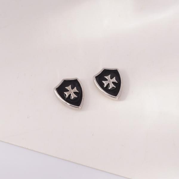 精巧時尚盾牌 無耳洞黏貼式耳環