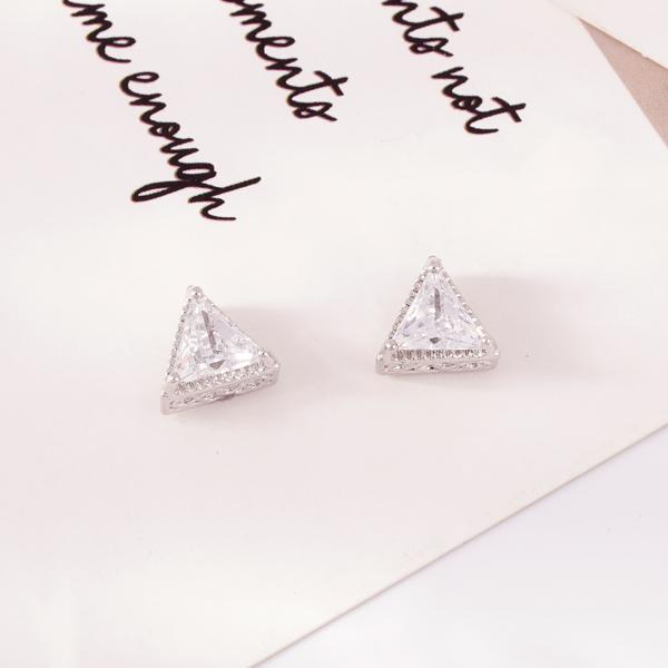 韓流三角鑲鑽 無耳洞黏貼式耳環