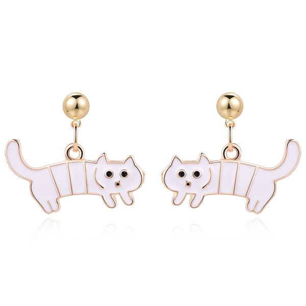 搞怪萌趣白色條紋小貓 耳針/無耳洞黏貼式耳環
