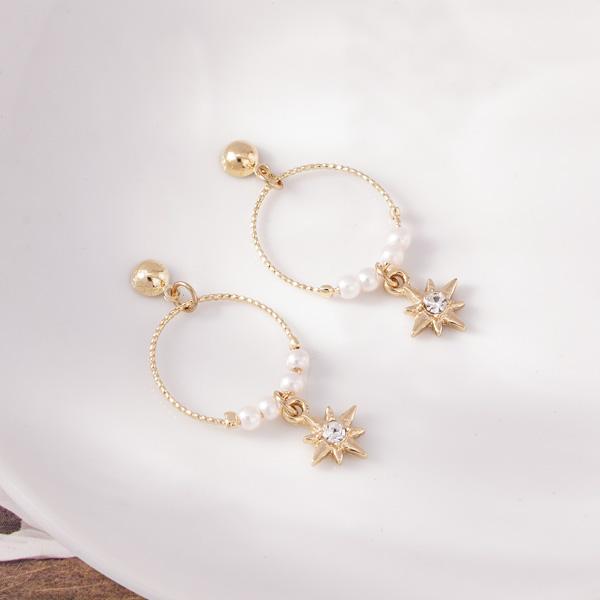 時尚簍空圓環珍珠芒星 耳針/無耳洞黏貼式耳環
