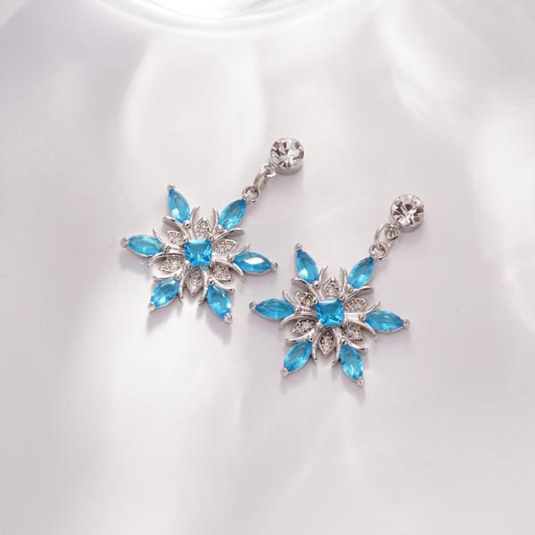 冷豔冰藍雪花 耳針/無耳洞黏貼式耳環