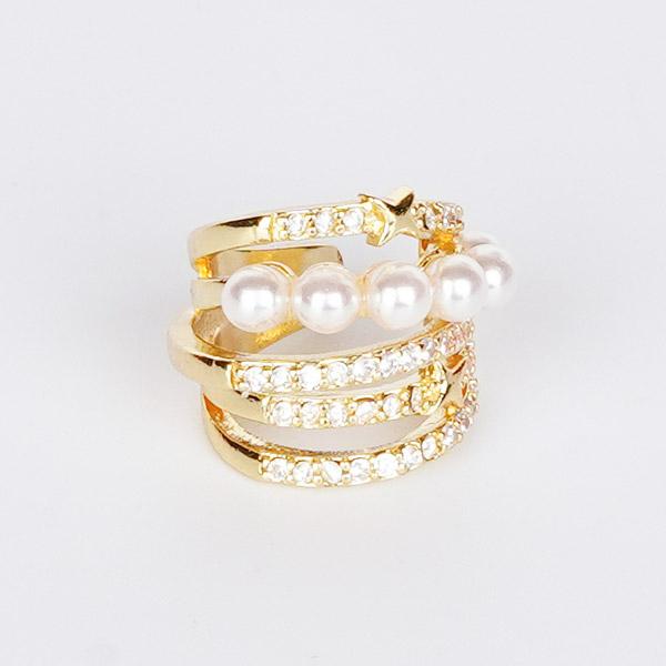 復古多層珍珠鑲鑽耳骨夾