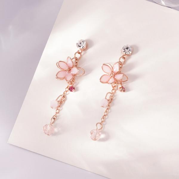 清透粉嫩雙層櫻花耳針/無耳洞黏貼式耳環