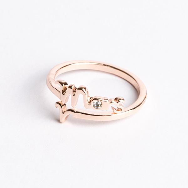 十二星座玫瑰金開口戒指