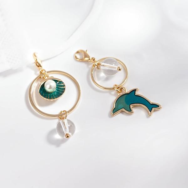 不對稱海豚珍珠貝殼口罩吊飾