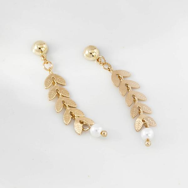 時尚優雅麥穗珍珠 耳針/無耳洞黏貼式耳環